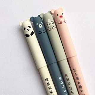 4 Pcs Gel Pen 0.35mm Black Ink Animal Gel Pen Erasable Pig Panda Mouse Bear Pen Kawaii Pen for School Office Stationery St...