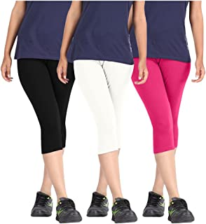 Pixie Women's Solid Color Casual Capri/Above Knee Length Shorts in Combo Pack of 3 - Free Size