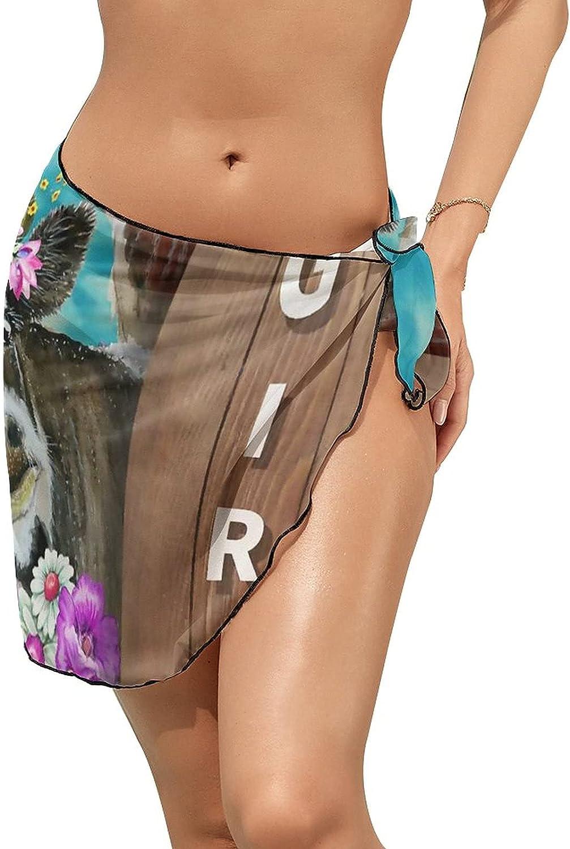 Women's Beach Sarongs Bikini Cover Ups Cow Flowers Butterfly Sheer Swimwear Short Skirt
