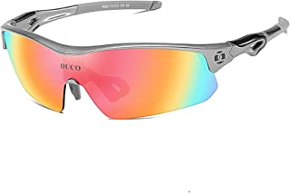 Polarized Sports Cycling Sunglasses for Men with 5 Interchangeable Lenses for Running Golf...