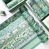 Tyelany Washi Tape Set Colorati, 12 Rotoli Washi Tapes Set, Washi Tapes Vintage Rotolo da 3m, con 1 Scatola, per Diario, Decorativo, Confezioni, Calendari (Larghezza 1cm, 1,5cm, 2cm, 3cm, Verde)