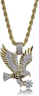 Collana a catena placcata oro 18 carati con pendente personalizzato Aquila Iced Out Bling gioielli Moca per uomo donna
