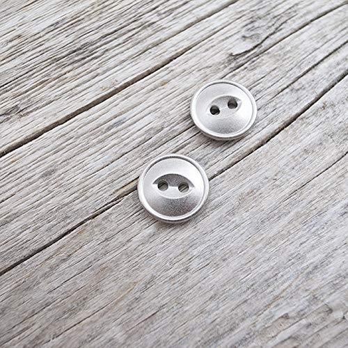 【キャッツアイ】メタルシンプルボタン #D418 2穴 15mm C/#HN シルバー 10個セット