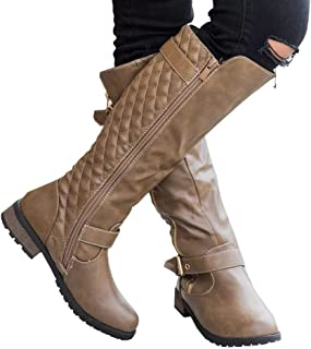 Syktkmx Womens Winter Knee High Boots Motorcycle Riding Quilted Chunky Flat Low Heel Boots