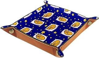 BestIdeas Panier de rangement carré de 16 × 16 cm, avec un adorable chat endormi sur un oreiller, boîte de rangement sur t...
