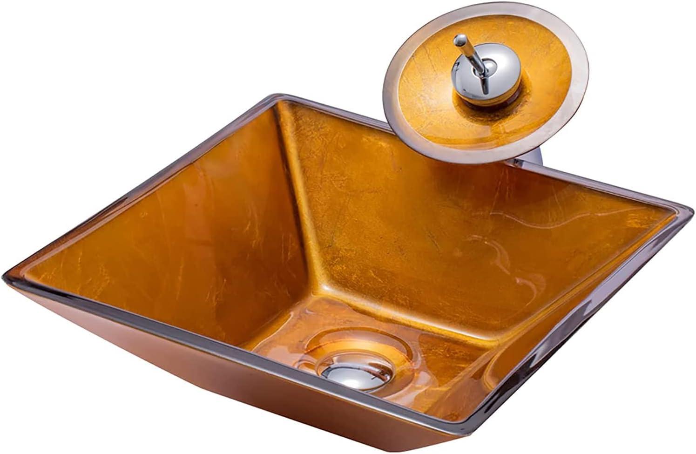 Lavabo Sobre Encimera Cuadrado Dorado Vidrio Templado, Arte Creatividad Lavamanos Pequeno Estilo Minimalista 420*420*140mm, Pica Baño 12 Mm Espesor Decoración Hogar(Size:Set Accesorios Lavabo + Grifo)