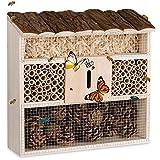 Deuba® Insektenhotel Natur Holz 31 x 31 cm Brutkasten Schmetterlinge Bienen Insekten Nistkasten Vogelschutz Metallgitter Garten