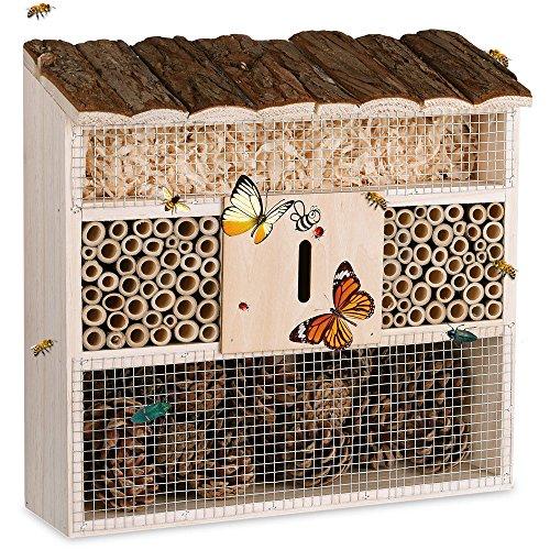 Deuba® insectenhotel, natuurhout, 31 x 31 cm, broodtrommel, vlinders, bijen, insecten, nestkast, vogelbescherming, metalen rooster, tuin