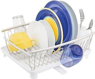 mDesign Escurridor de platos con bandeja de goteo – Bandeja escurreplatos para la encimera o el fregadero de la cocina – Secaplatos con desagüe giratorio de metal y plástico – plateado mate/blanco