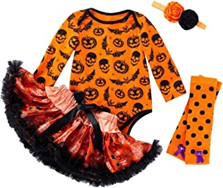 LvRao Baby Girls 4pcs Pumpkin Print 1st Halloween Outfits Romper Bodysuits Leggings Headband and Tutu Skirt Dress