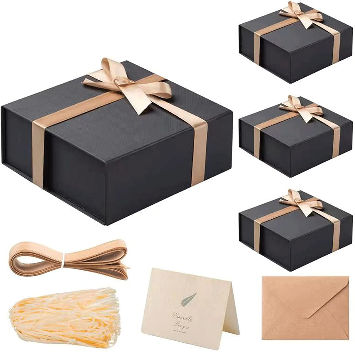 Buy LIFELUM Gift Box with Magnetic Lid 4 Pack 8 x 7 x 3 Black Large Gift Box  Bridesmaid Proposal Gift Boxes for Presents with Lids Contains Card,  Ribbon, Shredded Paper Filler