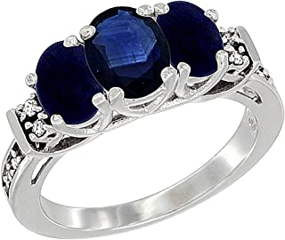 10K White Gold Natural Blue Sapphire & Lapis Ring 3-Stone Oval Diamond Accent, sizes 5-10