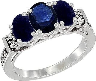 10K White Gold Natural Blue Sapphire & Lapis Ring 3-Stone Oval Diamond Accent, Sizes 5-10