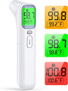 Forehead Thermometer for Adults, KKmier Forehead and Ear Infrared Thermometer High Precision LCD Display Fever Alarm Touchless Thermometer for Baby, Kids and All Ages Digital Thermometer Forehead