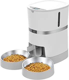 Automatic Cat Feeder, WellToBe Pet Feeder Food Dispenser for Cat & Small Dog with Two-Way Splitter and Double Bowls, up to...