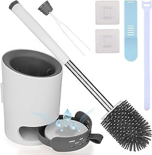 Brosse WC Brosse de Toilette en Silicone Antibactérienne Balayette WC Balai Brosse Ensemble avec Support Suspendu Pincette...