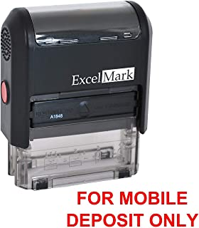ExcelMark for Mobile Deposit ONLY Rubber Stamp – Bank Deposit Stamp – Red Ink (A1848)