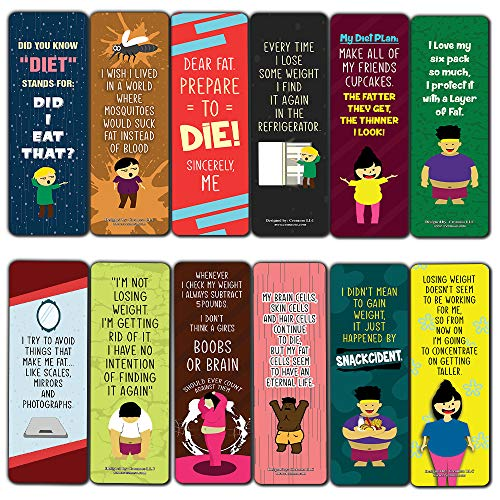 Funny Weight Loss Sayings Bookmarks (60-Pack) - Premium Quality Gift Ideas for Children, Teens, & Adults for All Occasions - Stocking Stuffers Party Favor & Giveaways