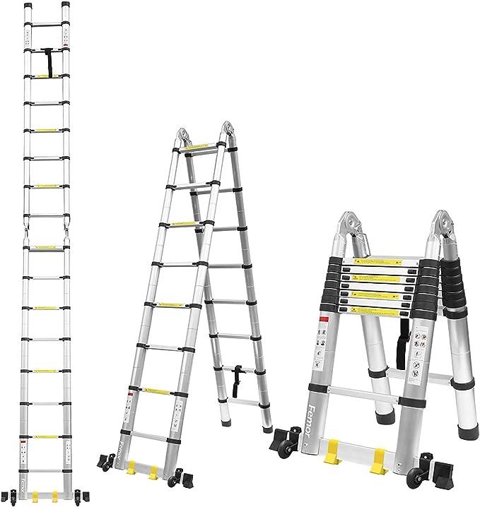 Scala telescopica 3 gradini scala 6 gradini, scala 12 gradini con barra di bilanciamento [carico 150kg] B06XDMQ14L