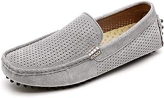 Ranipobo Loafer for Men Boat Moccasins Slip On Style Suede Pigskin Leather Simple Hollow Design for Men (Color : Gray, Size : 7.5 UK)