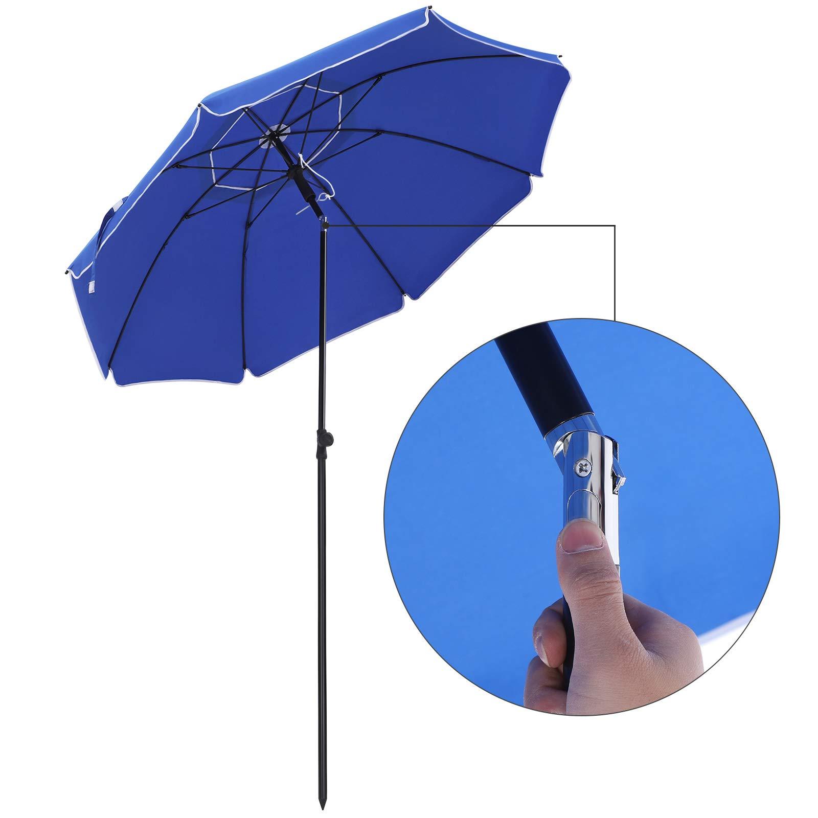 SONGMICS Parasol de 2 m Diámetro de Arco, Sombirlla, Protección Solar, Capota Octogonal de Poliéster, Costiila de Fibra de Vidrio, Mecanismo de Inclinación, para Playa Jardín Piscina, Azul GPU65BUV1: Amazon.es: Jardín