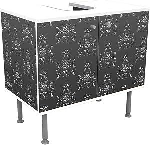 wandmotiv24 Mueble de baño Modelo Barroco Negro-Gris Frente y Lados pegando Mueble de diseño Mueble de Lavabo M0122