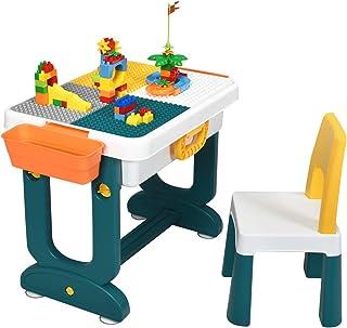 GOPLUS Ensemble de Table et Chaise pour Enfants 6 en 1 avec Planche Double-Face et 2 Paniers de Rangement, Table de Blocs ...