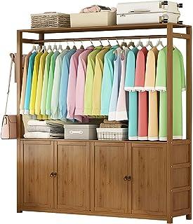 LOHOX Portant Penderie à Vêtements en Bambou avec Porte de Rangement et Porte-Pantalon Latéral Porte Manteau Armoire Etagè...