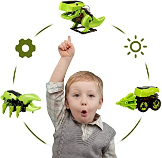BeebeeRun Solar Robot Kit 3 in 1 STEM Educational Toys Dinosaurs Insect Car Form Solar Power Build and Learn Toy for Kids ...