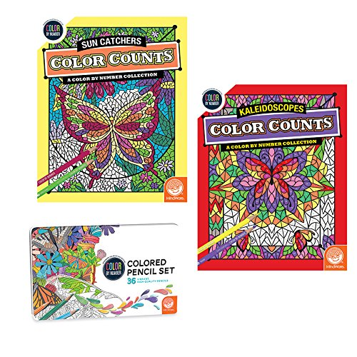 MindWare Color Counts Set of 2: Kaleidoscope & Sun Catchers with Numbered Colored Pencils
