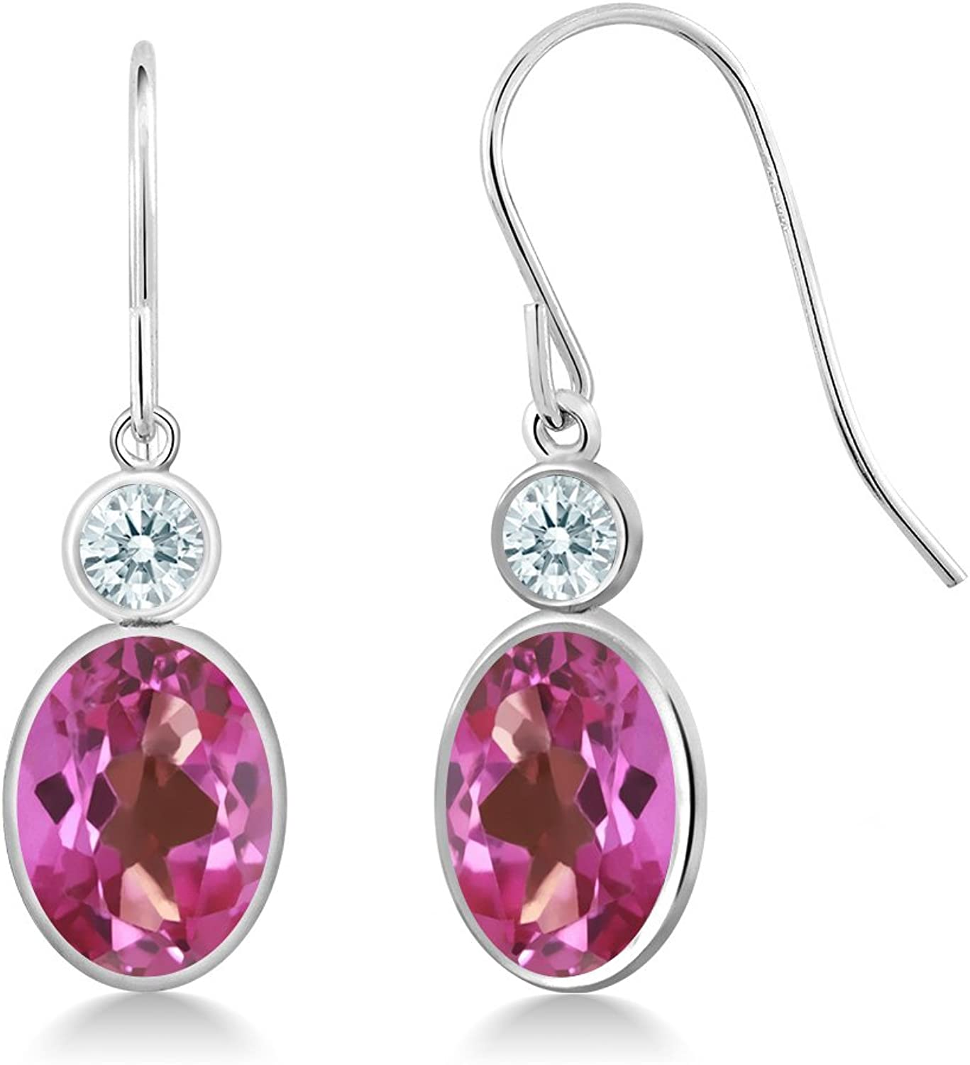 2.82 Ct Pink 14K White gold Earrings Made With Swarovski Zirconia