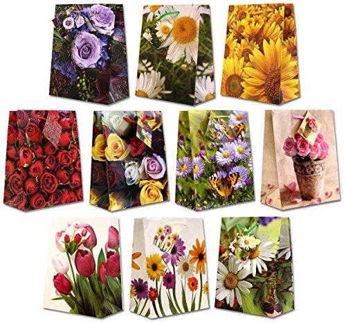 10 Geschenktüten Blüten M 23x18x10cm Geschenktaschen Papier-Tragetasche 99-9013