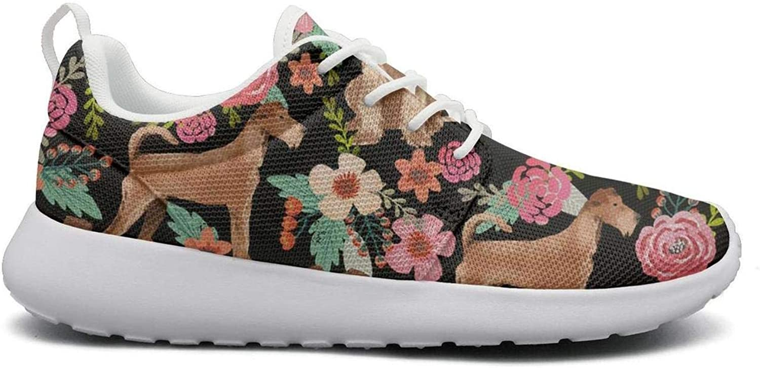 Women Fashion Lightweight shoes Sneakers Irish Terrier Floral Dog Canvas Upper Gym Lace-Up