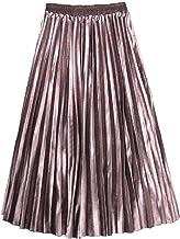 YUESJX Falda Plisada de Terciopelo Dorado en la sección Larga de Las Mujeres otoño e Invierno Nueva Falda Plisada Cintura Alta era Delgada y Falda Grande