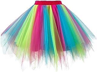GirstunmBrand Women's 50s Vintage Tulle Skirt Petticoat Multicoloured Bubble Dance Dress Skirt