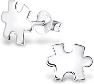 925 Sterling Silver Puzzle Piece Stud Earrings for Girls 23389 (Nickel Free)