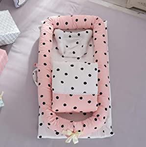 Lhh Baby Bassinet Set For Bed Lounger Breathable  amp  Hypoallergenic Baby Bed 100  Cotton Portable Crib For Bedroom travel 90 15cm  B
