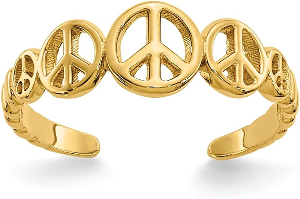 14k Yellow Gold Peace Sign Adjustable Cute Toe Ring Set Fine Jewelry For Women Gifts For Her