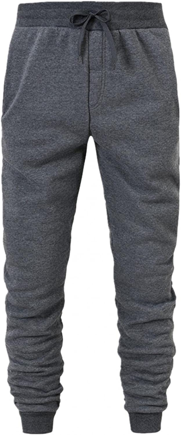 Beshion Mens Jogger Sweatpants Slim Fit Athletic Workout Pants Sports Straight Solid Color Lace-up Trousers