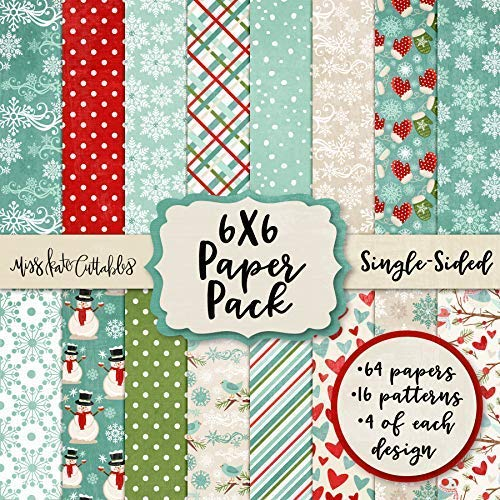 6X6 Pattern Paper Pack - Winter Wonderland - Card Making Scrapbook Specialty Paper Single-Sided 6'x6' Collection Includes 64 Sheets - by Miss Kate Cuttables