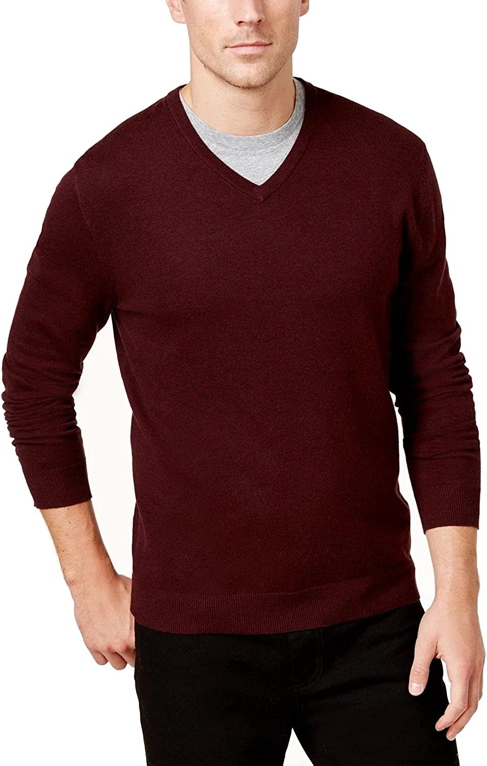 Alfani Mens Sweater Port Small V-Neck Solid Knit Pullover Red S