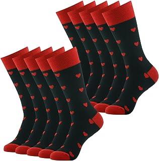 Funky Casual Dress Crew Socks, SUTTOS Men's 10 Pairs Cotton Argyle Diamond Striped Long Tube Gift Sock