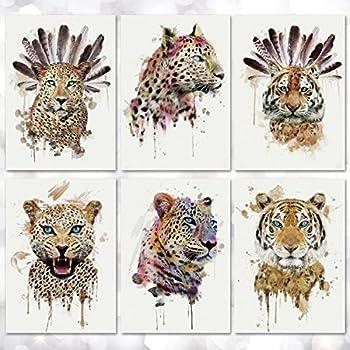 Leoars Temporary Tattoo for Men Women Wild Style Tiger Leopard Large Waterproof Tattoos Sticker Water Transfer Body Art Fake Tattoo for Boys Teens Makeup 6-Sheet