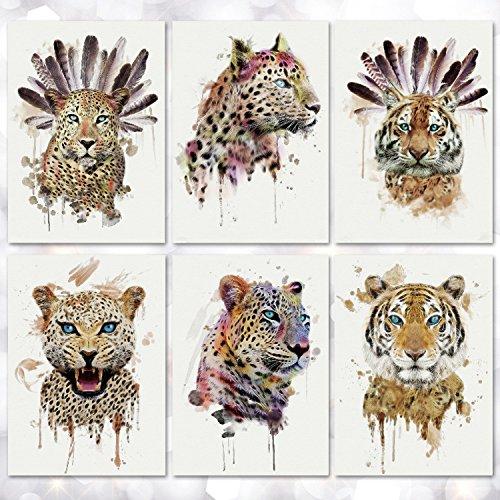 Leoars Temporary Tattoo for Men Women Wild Style Tiger Leopard Large Waterproof Tattoos Sticker Water Transfer Body Art Fake Tattoo for Boys Teens Makeup, 6-Sheet