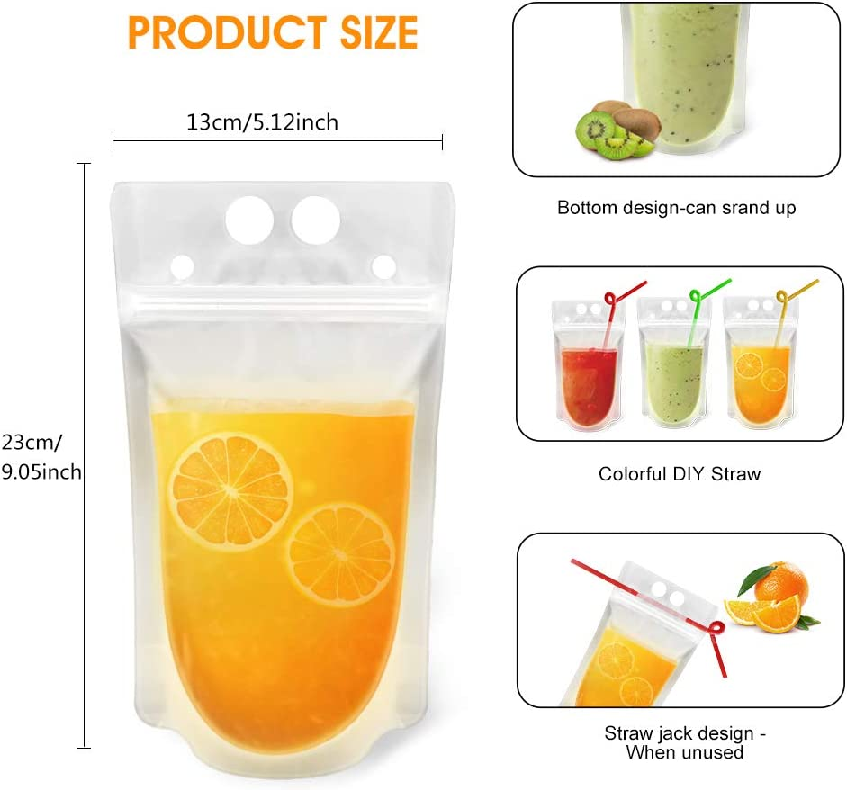 Reusable Drink Pouches Clear Drink Bags with Disposable Plastic Straws Smoothie Bags Juice Bags Reclosable Double Zipper Handheld Translucent Stand-up Frozen Drink Pouches for Adults