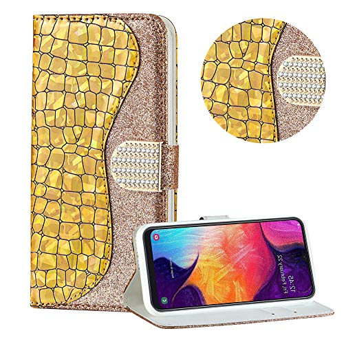 Diamant Brieftasche Hülle für Galaxy A20E,Gold Wallet Handyhülle für Galaxy A20E,Moiky Ultra Dünn Stilvoll Laser Glitzer Farbe Block Klappbar Stand Silikon Handytasche