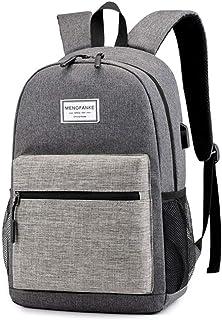 College Student School Bag Computer Backpack Outdoor Travel Large Capacity Storage Bag Female Bookbag USB Charging,Gray