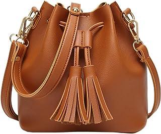 EasyHui Womens Crossbody Bag Grils Fashion PU Leather Tassel Small Travel Purse Shoulder Tote Handbag