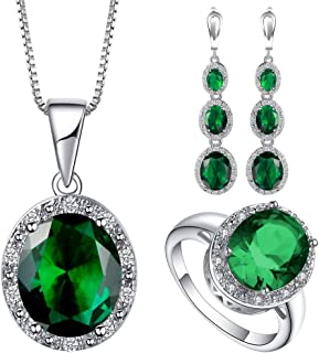VPbao Cubic Zirconia Oval Crystal Chain Necklace Earrings Ring Jewellery Sets Green