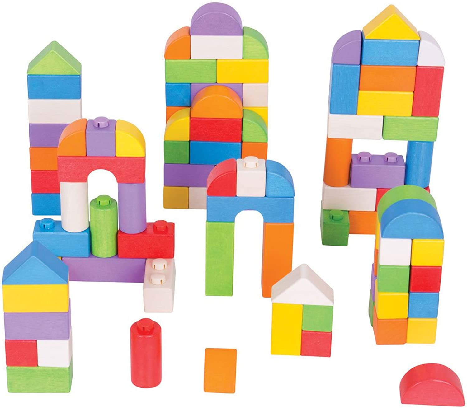 Bigjigs Toys Wooden colord Click Blocks Set (100 Pieces)  Stacking Blocks
